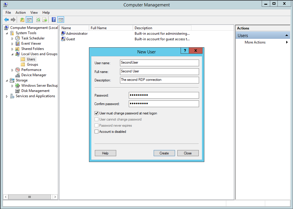 Windows Server 2012 R2 New User Form